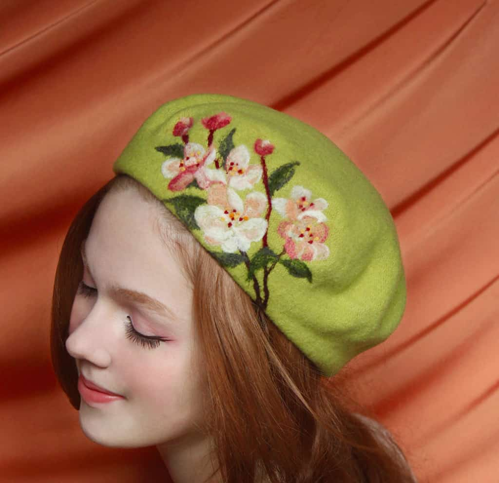 Felted wool beret with painting by Rebecca Lord