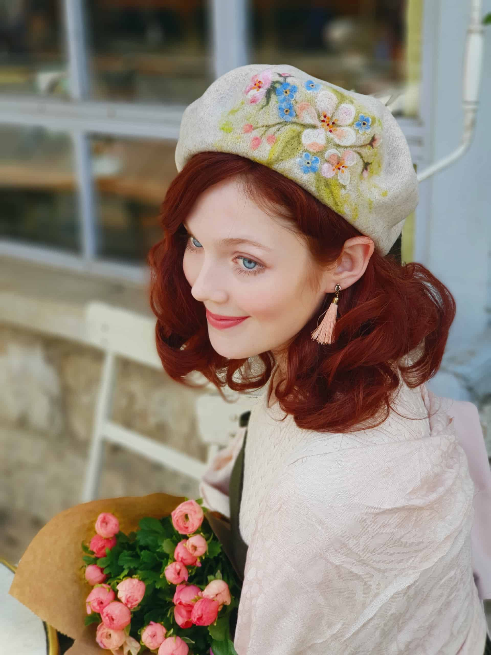 Wool beret with felted painting