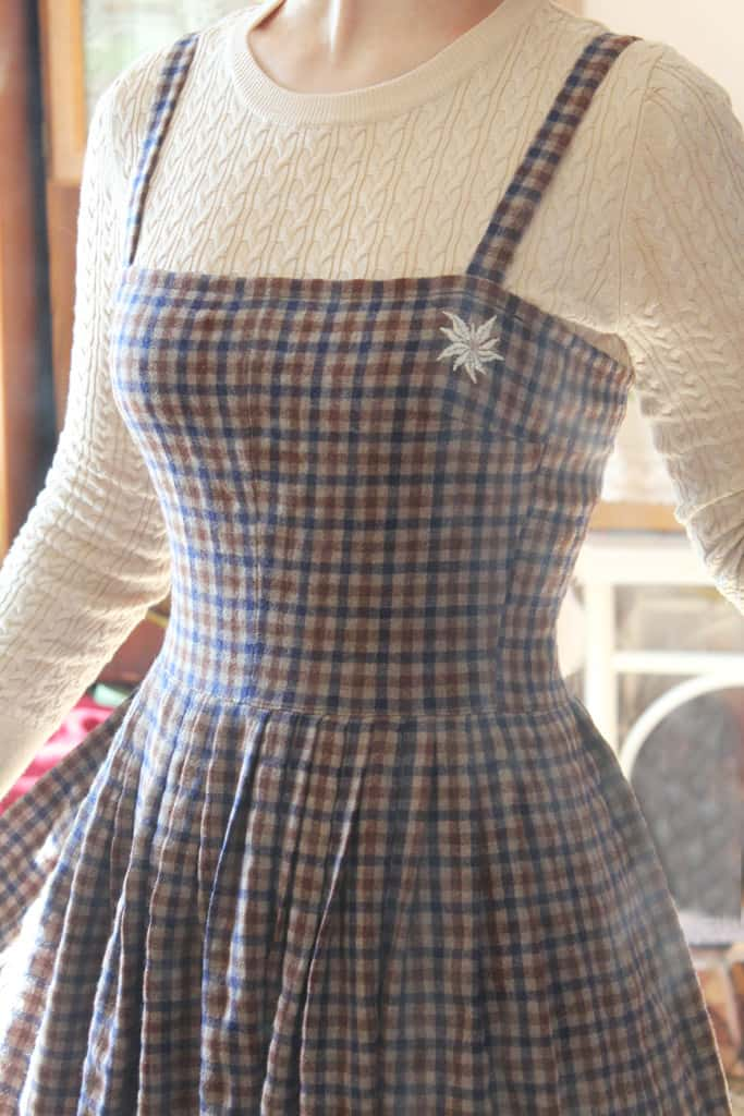 Wool Plaid Sundress with Eelweis embroidery