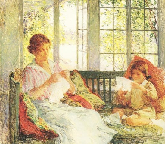 My Wife and Daughter (Willard Metcalf) painting